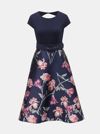 Rochie albastru inchis florala cu decupaj la spate Dorothy Perkins