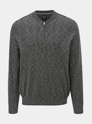 Tmavosivý melírovaný sveter so zipsom Burton Menswear London