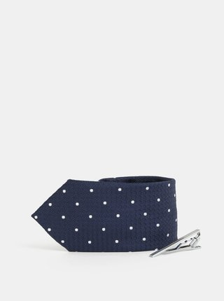 Tmavě modrá puntíkovaná kravata se sponou Burton Menswear London