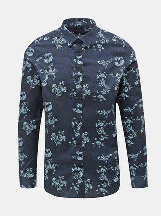 Tmavomodrá kvetovaná košeľa Dstrezzed