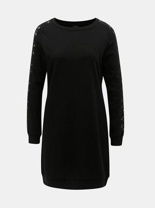 Černé mikinové šaty s krajkovými detaily ONLY Mynte
