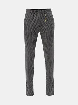 Tmavosivé vzorované chino nohavice s ozdobou Dstrezzed Fanc