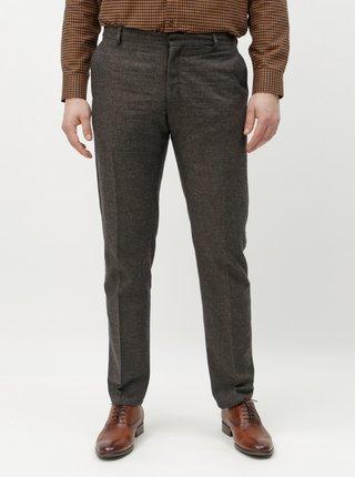 Tmavě šedé žíhané slim kalhoty s příměsí vlny Selected Homme Damian