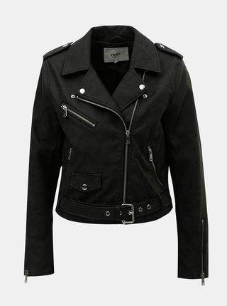 Jacheta biker neagra scurta din piele sintetica ONLY Geena