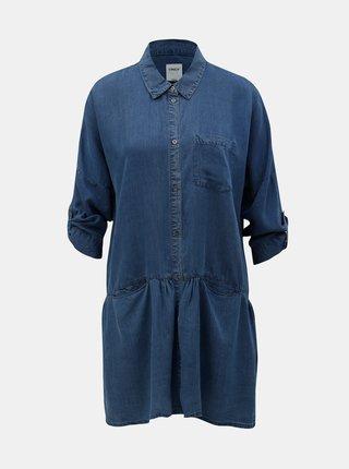 Camasa lunga albastra din denim cu buzunare ONLY Klinn