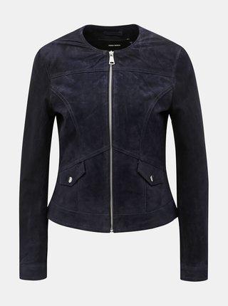 Jacheta albastru inchis din piele intoarsa VERO MODA Manon