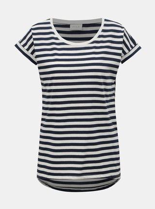 Bielo–modré pruhované basic tričko VILA Dreamers