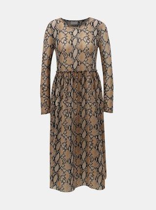 Rochie midi negru-maro cu motiv sarpe VILA Kalista