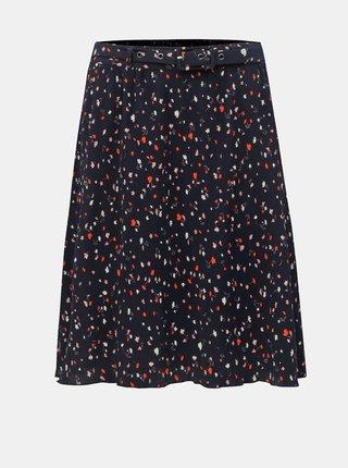 Tmavě modrá květovaná sukně s páskem VILA Atla