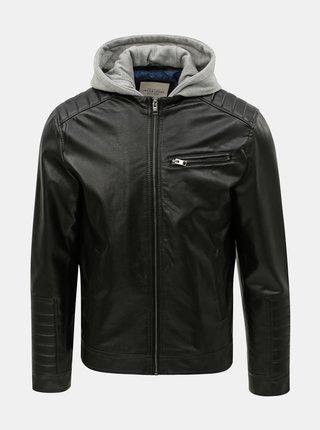Jacheta neagra din piele sintetica cu partea interioara detasabila Jack & Jones Chris