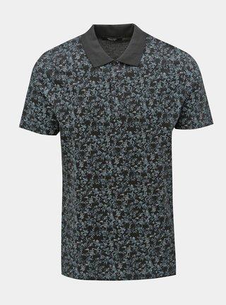 Modro-černé květované slim fit polo tričko Jack & Jones Canton