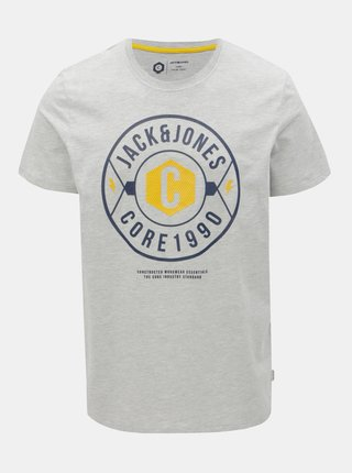 Tricou gri deschis melanj regular cu imprimeu Jack & Jones Fresco