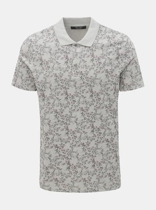 Tricou polo gri floral slim fit Jack & Jones Canton