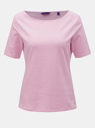 Ružové dámske tričko s lodičkovým výstrihom GANT
