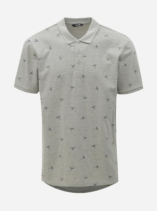 Tricou polo gri deschis cu imprimeu ONLY & SONS Bird