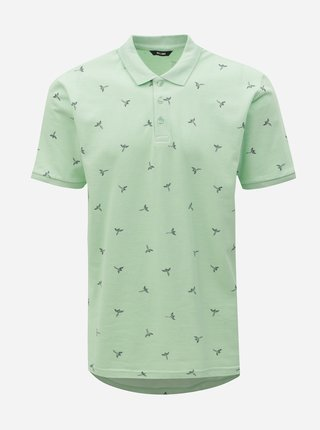 Tricou polo verde deschis cu imprimeu ONLY & SONS Bird