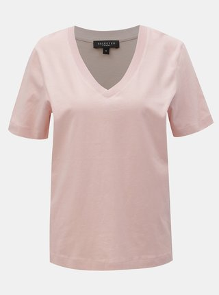 Tricou basic roz deschis Selected Femme Standard