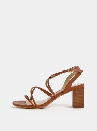 Hnědé sandály na širokém podpatku Dorothy Perkins