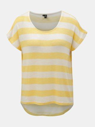Krémovo-žluté pruhované tričko VERO MODA Wide