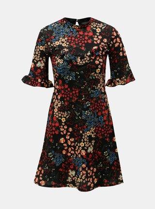 Červeno–čierne kvetované šaty Miss Selfridge
