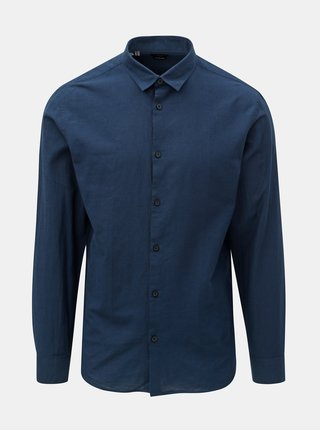 Tmavomodrá slim fit košeľa s prímesou ľanu Selected Homme Linen