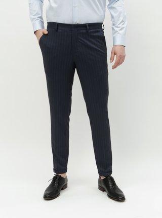 Tmavě modré pruhované skinny kalhoty Selected Homme Jersey