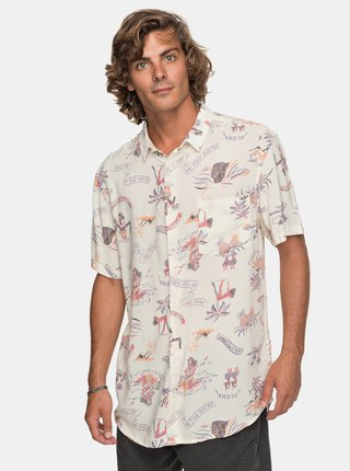 Camasa barbatesca bej tall fit cu model Quiksilver