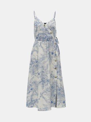 Modro-bílé květované midišaty s příměsí lnu Dorothy Perkins