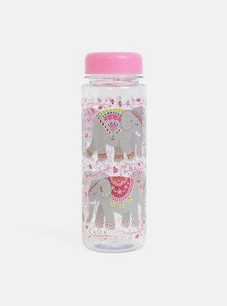 Ružová fľaša na vodu s motívom slonov Sass&Belle Mandala Elephant