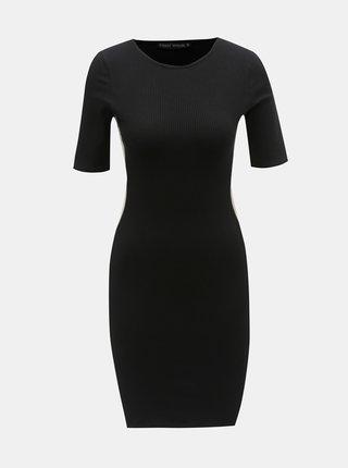 Čierne rebrované šaty s pruhom na boku TALLY WEiJL Peeri