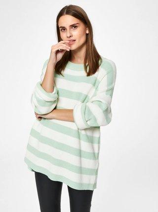 Krémovo–zelený pruhovaný voľný basic sveter Selected Femme Neo