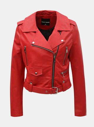 Červená koženková bunda TALLY WEiJL Damar