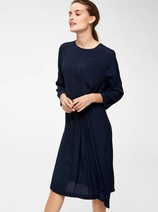 Tmavě modré šaty s řasením na boku Selected Femme Kiara