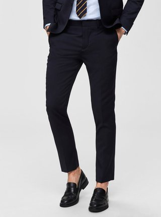 Tmavomodré oblekové slim nohavice s prímesou vlny Selected Homme Lobill