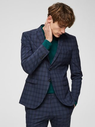 Sacou formal albastru inchis in carouri slim Selected Homme Logan