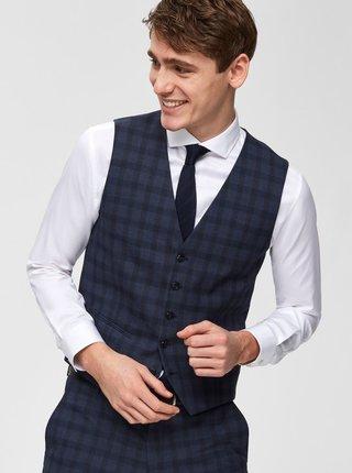 Tmavomodrá kockovaná obleková vesta Selected Homme Logan