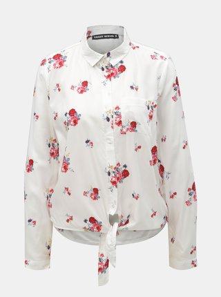 Biela kvetovaná košeľa s uzlom TALLY WEiJL Viforu