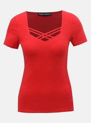 Červené tričko s pásikmi v dekolte TALLY WEiJL Libro
