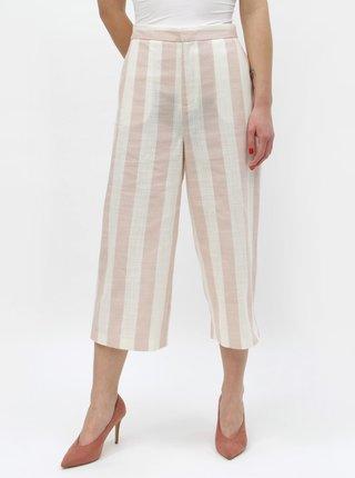 Pantaloni culottes crem-roz in dungi ONLY Nanna