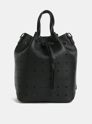Čierna dierovaná vaková kabelka/batoh Claudia Canova Danay
