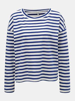 Bílo-modré pruhované volné tričko ONLY Brave