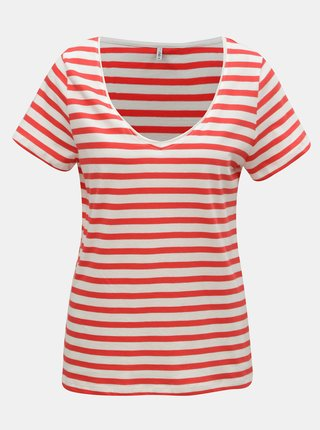 Tricou basic alb-rosu in dungi ONLY Brave