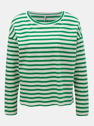 Tricou lejer alb-verde in dungi ONLY Brave