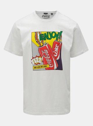 Biele regular fit tričko s potlačou ONLY & SONS Fresh Coca Cola