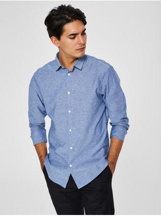 Modrá melírovaná slim fit košeľa s prímesou ľanu Selected Homme Linen
