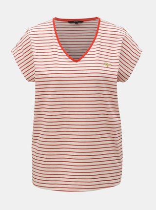 ed46653d12d2 Krémové pruhované tričko s výšivkou VERO MODA Clia