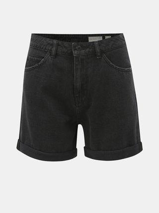 Pantaloni scurti gri inchis din denim cu talie inalta VERO MODA Nineteen