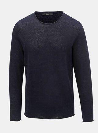 Tmavě modrý lněný svetr Jack & Jones Linen