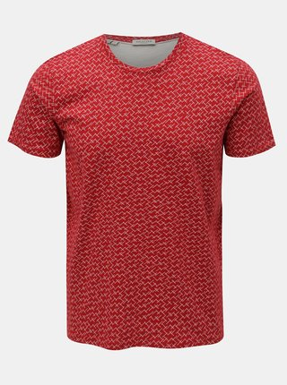 Tricou rosu cu model Selected Homme Kristian