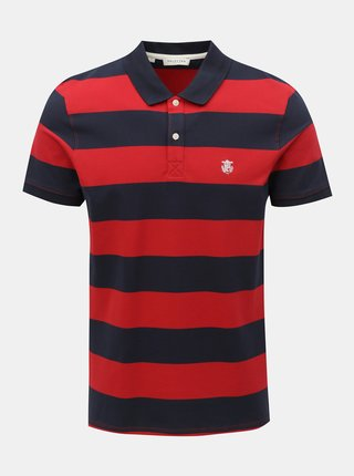 Tricou polo albastru-rosu in dungi Selected Homme Haro